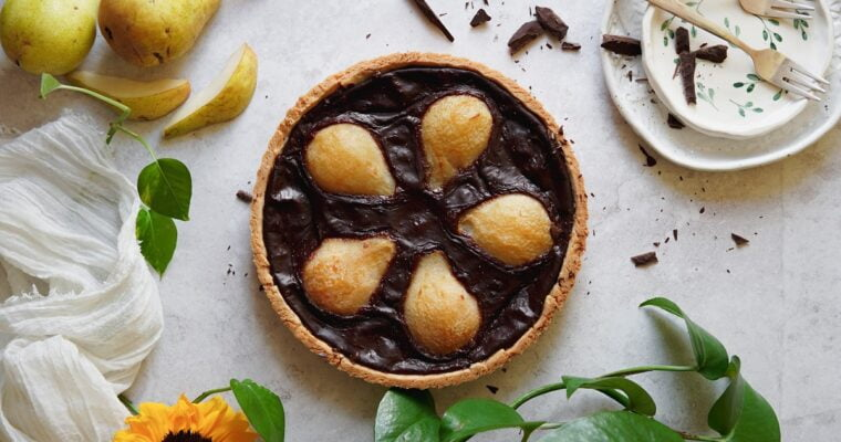 Crostata pere e cioccolato vegan